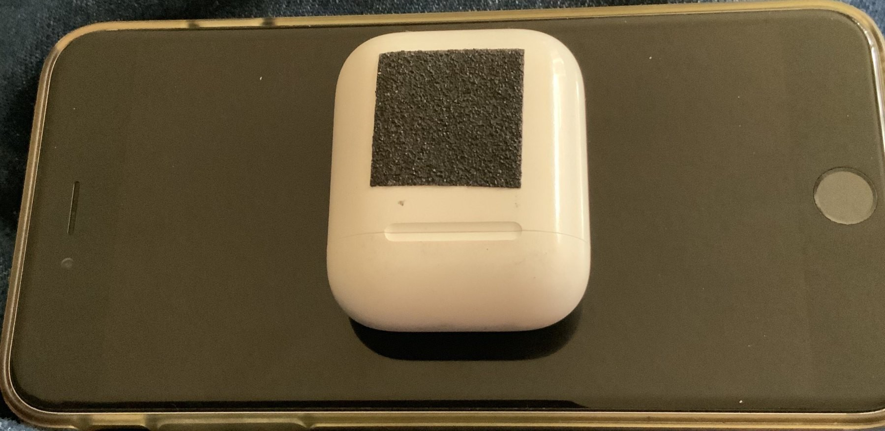 Stair edge nonslip tape on Airpods case