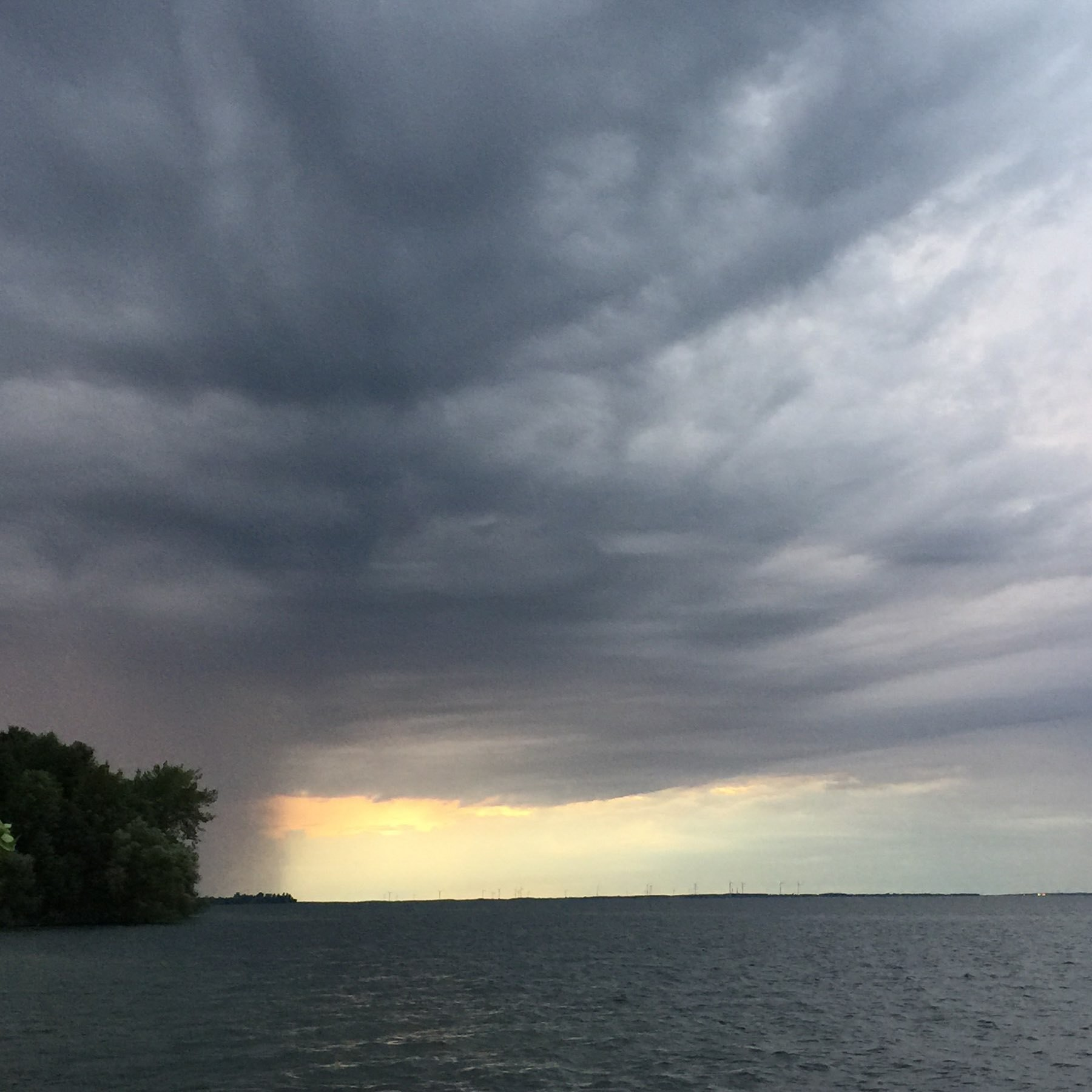 Rain in the distance over Lake Ontario